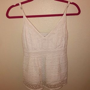 Abercrombie & Fitch White Patterned Tank Top S